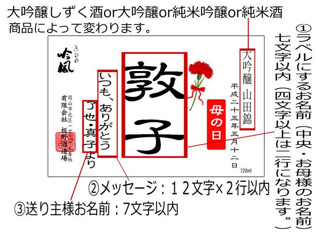 母の日・日本酒名入れギフトラベル説明